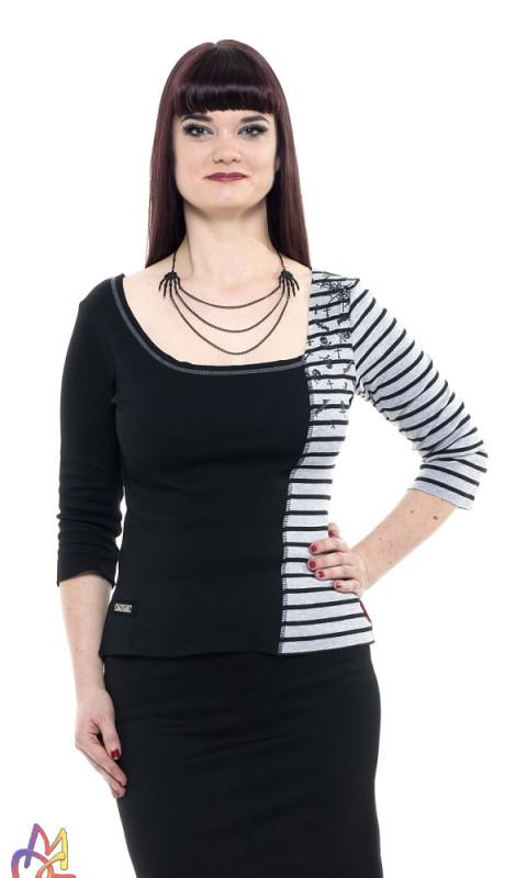 Schwarz-graues Shirt mit Streifen